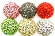 14mm Pave Crystal Beads  2 Holes / 130 Stones